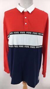 Victorias Secret Red Striped Polo Shirt Womens size M, Medium