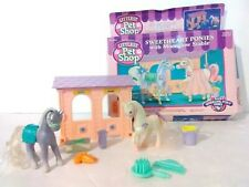 Vintage Kenner 1994 Littlest Pet Shop LPS Sweetheart ponies with Moonglow Stable