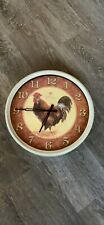Home wall clock Analogue decoration, 14 inch round, round, rooster, red.