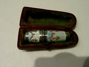 GERMAN SOLID SILVER HALLMARKED 935 ENAMEL SEWING & THIMBLE & NEEDLE CASE HOLDER