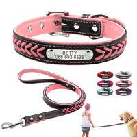 Hundehalsband mit Namen Leder Personalisiert Halsband & Leine Klein Extra Groß