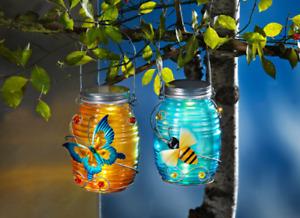 2 x LED Glasleuchten Biene Schmetterling Glas laterne Hängedko Timer Windlicht