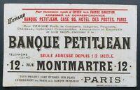 BUVARD BANQUE PETITJEAN & Cie banque 12 rue Montmartre blotter Löscher