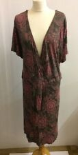 *BNWT* s.Oliver Ladies Brown Red Dress Tunic Size 28 Paisely Faux Wrap L38
