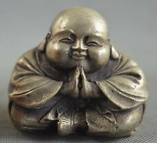 Collectable Handwork Decor Miao Silver Carve Pray Buddha Buddhism Lucky Statue