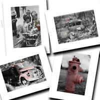 Vintage Fireman Firefighter Fire Trucks Black White Designs Four Photo Prints
