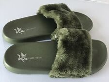 LFL by Lust For Life Smooth Olive slides size 8 Faux Fur nasty gal