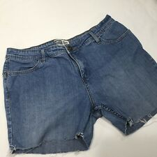 Levi's Signature Womens Shorts Stretch Med Wash Mid-Rise Cut-Off Frayed Sz 14