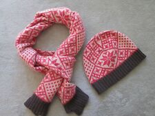 Boden Fun Knit Hat and Scarf, Wool Blend, New in Bag, Pink White Purple Fairisle