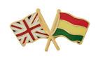 Bolivia Flag & United Kingdom Flag Friendship Courtesy Pin Badge