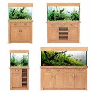 Oak Style Aquarium Fish Tank & Cabinet AQUA ONE Filter LED Lighting <300L