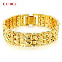 Gold Farbe Armbander Armreif Männer Frauen Luxus Wed Schmuck Chunky Gliederkette
