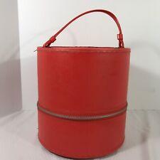 Red Mod Wig Hat Box Train Travel Case Vinyl Round Vintage