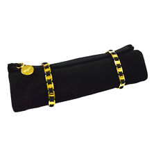 Salvatore Ferragamo Vara Cosmetic Pouch Brush Case Black Suede Authentic M14855