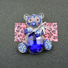 Betsey Johnson Charm Brooch Pin Rhinestone Cute Blue Crystal Bamboo Panda