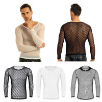 Mens Fishnet Long Sleeve Muscle T Shirt Transparent Tee Tops Sports Fitness Gym