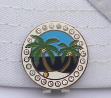 Island Paradise Golf Ball Marker with Crystals and Magnetic Hat Clip