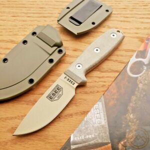 "ESEE Model 3 Fixed Knife 3.75"" 1095HC Steel Full Tang Blade Tan Micarta Handle"