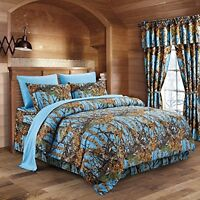 Powder Blue THE WOODS WOODLAND CAMO KING COMFORTER-FREE SHIP