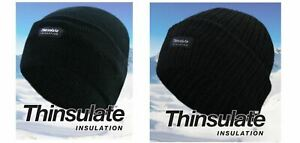 Mens Knitted Thinsulate Fleece Lined Black Beanie Winter Hat