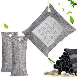 3 Pack Natural Air Purifying Bag Reusable Bamboo Activated Charcoal Freshener