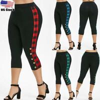Plus Size Check Women Slim Fit Capri Pants Ladies Cropped Fitness Jogg Leggings
