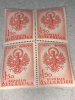 Austria Stamps Eagle Of Tirol Mi# AT1067, 1959  Block Of 4 Mnh