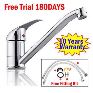 Kitchen Sink Mixer Single Lever Tap Swivel Spout Modern Chrome Basin Tap UK