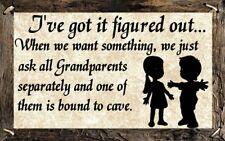 (Grandparents Will Cave)   DISTRESSED SIGN / PLAQUE, WALL DECOR, PRIMITIVE SIGN