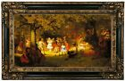 Brown Picnic Party in the Woods 1872 Wood Framed Canvas Print Repro 12x22