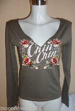 Damen Langarmshirt Madonna Shirt 36/38 Flower Power Glitzer Chin Chin
