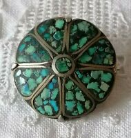 Antique Art Deco TURQUOISE Mosaic Bead 925 Sterling Silver Brooch