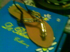 NATURAL BREEZE BLACK & GOLD THONG SANDALS CHIC SEXY WEDGE 9  M