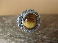 Navajo Indian Jewelry Sterling Silver Tiger Eye Ring Size 5 by Cadman