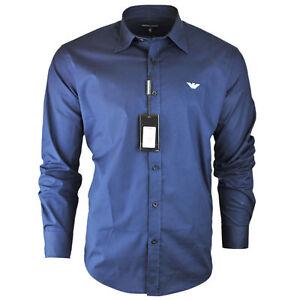 Men's Armani Plain Navy Shirt Long Sleeve Size S M L XL XXL