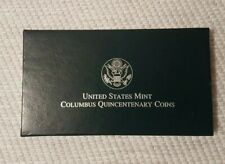 More details for columbus 500th anniversary 1992 silver proof dollar & half dollar set +coa. mint