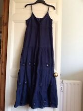 Ladies Summer Dress. Size 10. Long Evie.cotton. Lined. Strappy, Blue.embroidery