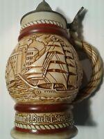 Vintage Avon Lidded Beer Stein Tall Ships Boats Brazil 1977 Nice Patina #276867