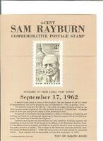 Scott 1202 4c Sam Rayburn USPS Collectors Stamp Poster Bulletin Folded Mint