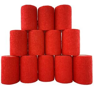 Inksafe Red Self Adherent Cohesive Bandages 7.5cm x 4.5m Box of 12