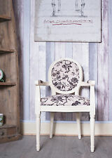 French Louis Armchair White Black Floral Shabby Chic Bed Room Antique Chair