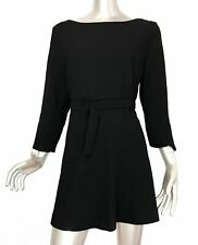 Zara Woman Black Mini Dress With Belt Long Sleeve Short Size XS
