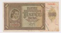Croatia Zagreb NDH 1000 Kuna 1941 Paper Money Banknotes Currency