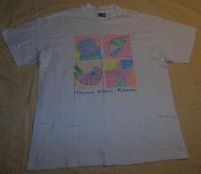Vtg 90's Hawaii Maui Kauai Beach Wear Shells T Shirt Abstract Fluorescent L Mens