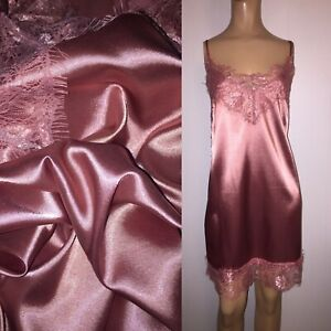 XL Beautiful LIQUID SATIN Full Slip WIDE LACE HEM Chemise Night Gown Vtg Stl