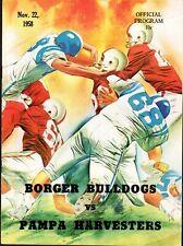 1958 BORGER BULLDOGS vs PAMPA HARVESTERS (TEXAS) High School FOOTBALL Program