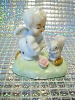 "*SUPER RARE VTG* Napco Itsy Bitsy Angel Girl w/ Squirrel ""CHIT CHATTIN"" Figurine"