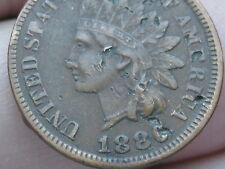 1886 Indian Head Cent Penny- Fine/VF Details, Almost Full LIBERTY, Variety 1