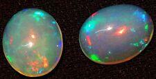 Natural Gem Ethiopian Opal Rare Matching Pair 10x8MM Oval Flashing &Playing Fire