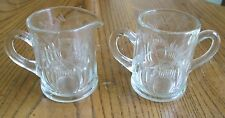 Cut Etched Glass elegant Thistle Scottland pair of creamer sugar